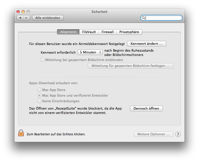 blocked RezeptSuite mac